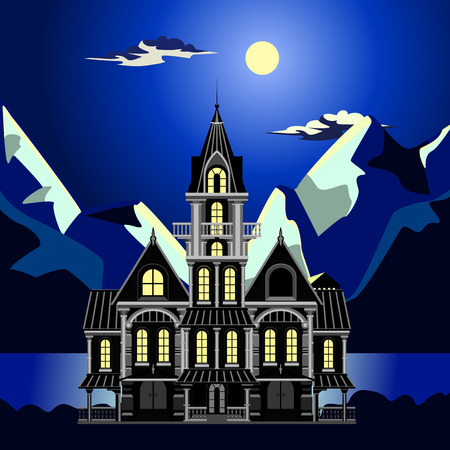Night seascape. Moon and clouds on the dark blue sky. The moon illuminates the tops of the mountains. Dark Sea. On the front locking plan. He lit windows. Columns, balconies with a balustrade. Weathervane on a triangular roof.