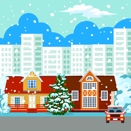 Winter cityscape. In the background, high-rise buildings, skyscrapers. The sky in the clouds, it s snowing. In the foreground colorful cottages. Near the car. Christmas tree decked with red balls. New Year s and Christmas.