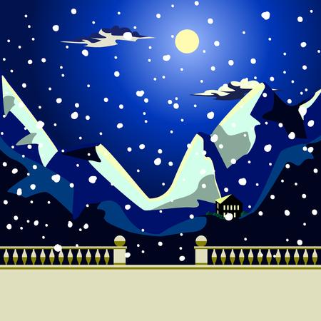 moody sky: mare Paesaggio di notte l'idilliaca e favoloso. Paesaggio marino di notte. Luna e nubi sul cielo blu scuro. La luna illumina le cime delle montagne. Il mare di colore scuro. Il parapetto in pietra e ringhiera con corrimano. Colonne a figure balaustre.
