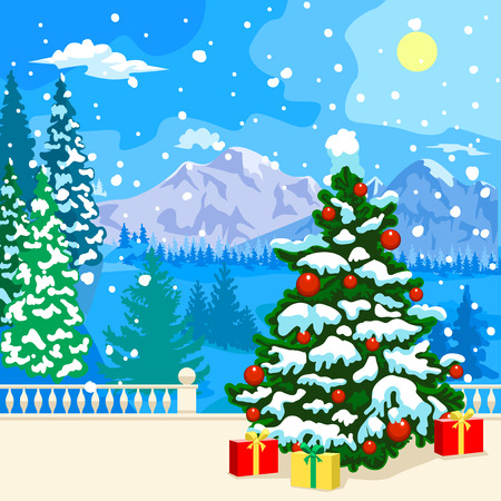 snow forest: Winter snowy landscape. The stone parapet and balustrade railings. Figured columns balustrades. Fir covered with snow. At a distance of mountains, forest and clouds. Snowing. Ornate Christmas tree covered with snow. Under the colorful gifts to the tree. C
