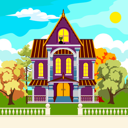 attic: Beautiful park in the fall. Trees with red and yellow leaves. Sun and clouds. Among the trees tall house with columns. Black cat in the attic.