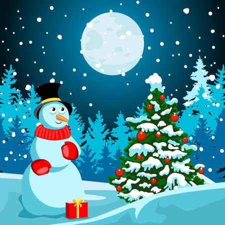Idyllic winter night landscape. In the meadow Christmas tree with red balls. Near snowman. Black Cylinder hat and red scarf. Red box with a gift. In the distance, dark forest trees silhouettes. Full moon. There is a soft snow. New Year or Christmas card. Illustration