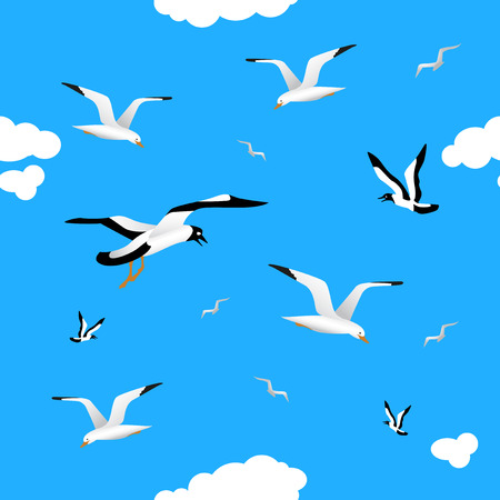 Gulls and clouds in the blue sky. Seamless pattern for your bekgraunda. Birds of different sizes flying across the sky. White clouds. Vektoros illusztráció
