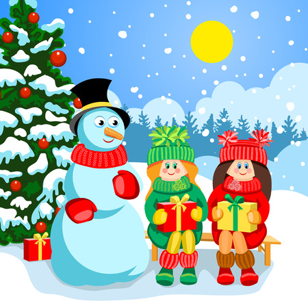 Outside Christmas tree in the snow. Red Christmas balls and gift boxes with colorful ribbons. Happy children received gifts. Two girls on a bench smiling. In the hands of boxes with gifts. Near snowman. Illustration