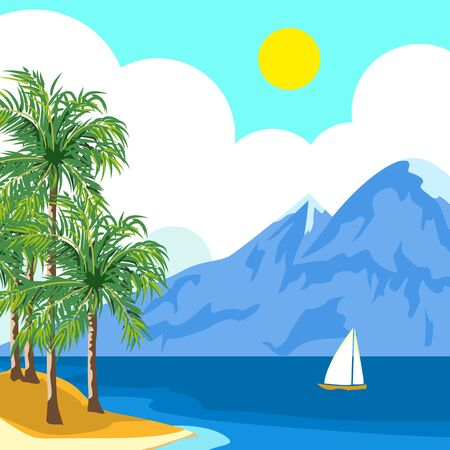 Small island in the sea. On the palm island. In the distance the mountains. Mountains and clouds are reflected in the sea. Reflections on the water. Happy holidays. Peace and solitude. At sea, the yacht with a triangular sail. Illustration