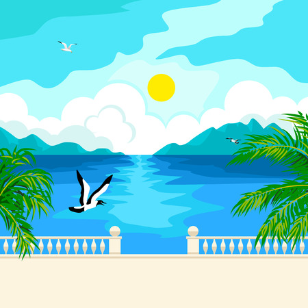 Southern landscape. The stone parapet and railing on the waterfront. Figured columns balustrades. Solar patches of light on water. Green palm branches. In the distance, mountains and clouds. Flying seagull. Illustration