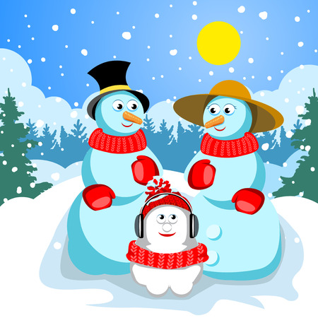 Family snowmen. Dad in a black hat with a yellow ribbon. Mom wearing a straw hat. They have red mittens and scarves. Malenik snowman in a hat and headphones. In the background is a winter forest and snow.