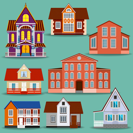 Set of different houses. It will help to create a variety of designs including a city and village houses. Beautiful castle with columns and modern cottages. Illustration
