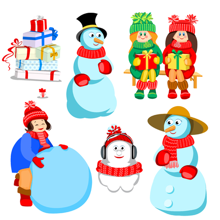 Characters for Christmas cards and various winter design. Girl sculpts snowman. Happy family of snowmen. Many gift boxes of different colors. Happy children smiling. They keep the gifts in their hands.