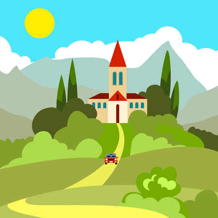 in monastery: Southern landscape. House on the hill in the hot sun. Turret with a triangular roof. In the distance the mountains. Sun and clouds on a blue sky. From home yellow road. According to her car rides. Greens and cypresses.