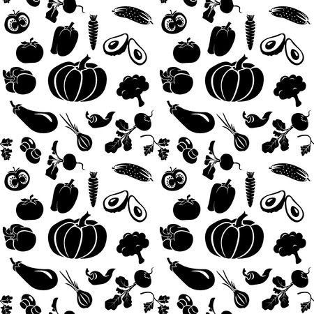 A set of silhouettes of vegetables on a white background. Black and white illustration. Seamless. It can be used for wrapping paper, drawing on the fabric and different backgrounds.