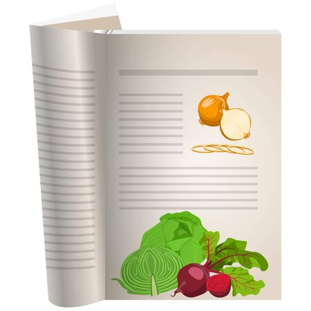 Template pages of a cookbook. You can have there favorite recipes. onion whole and sliced. Cabbage and beets. The template for the layout of text recipes. Illustration