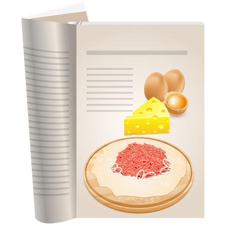 Template pages of a cookbook. You can have there favorite recipes. Chicken eggs whole and broken. One can see the yolk. Piece of yellow cheese. The dough and minced with onions on a cutting board.