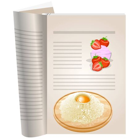 Template pages of a cookbook. You can have there favorite recipes. Strawberry cream in a glass bowl. Berries strawberries whole and sliced. On board the flour and egg.