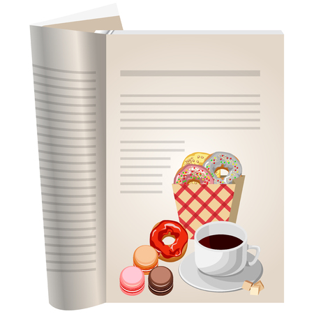 Template pages of a cookbook. You can have there favorite recipes. Coffee with sugar and various pastries. The package of donuts with colorful glaze. Meringue cakes with cream. Illusztráció