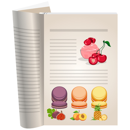 Template pages of a cookbook. You can have there favorite recipes. Cherry sauce with cherry berries. Multi-colored cakes with fruit jam.