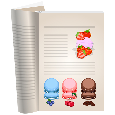 Template pages of a cookbook. You can have there favorite recipes. Strawberry sauce in a glass vase. Berries strawberries whole and sliced. Multi-colored cakes with fruit jam. Illustration