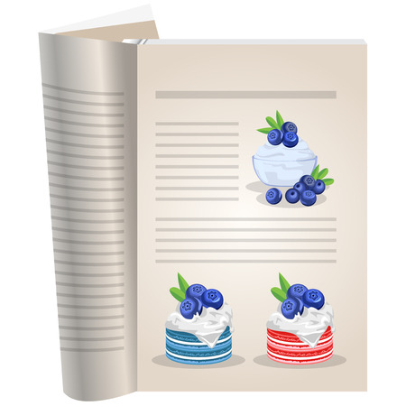 Template pages of a cookbook. You can have there favorite recipes. Blueberry sauce in a glass vase. Multi-colored cakes with fruit jam and whipped cream.