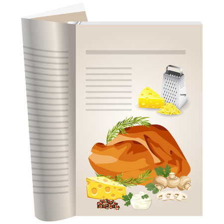 Template pages of a cookbook. You can have there favorite recipes. Roasted chicken with mushrooms and cheese. Iron grater and yellow cheese.