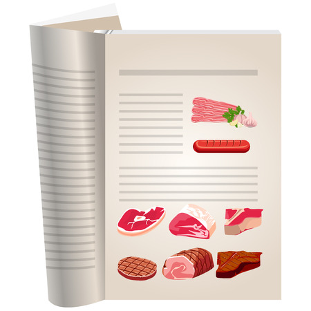 chops: Template pages of a cookbook. You can have there favorite recipes. Meat products. Set of different types of meat.