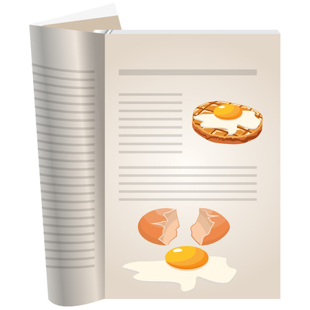 Template pages of a cookbook. You can have there favorite recipes. Chopped steak with egg. Illustration