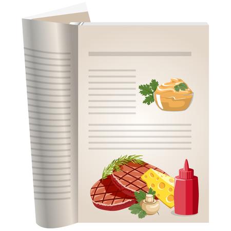utencilios de cocina: Las páginas de plantilla de un libro de cocina. Puede tener allí recetas favoritas. Chuletas con champiñones y queso. salsas diferentes salsa de tomate y mostaza.