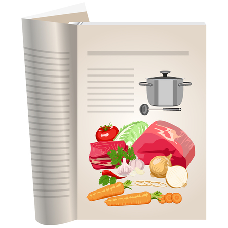 favorite soup: Template pages of a cookbook. You can have there favorite recipes. A set of ingredients for making soup.