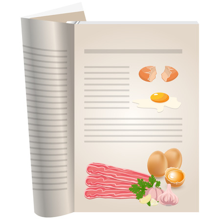 Template pages of a cookbook. You can have there favorite recipes. Eggs with bacon and garlic for breakfast.