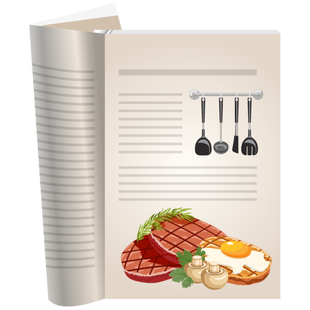 Template pages of a cookbook. You can have there favorite recipes. Cutlets with egg and mushrooms. Illustration