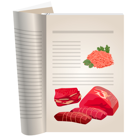 Template pages of a cookbook. You can have there favorite recipes. Minced meat and a variety of meats. Meat products.