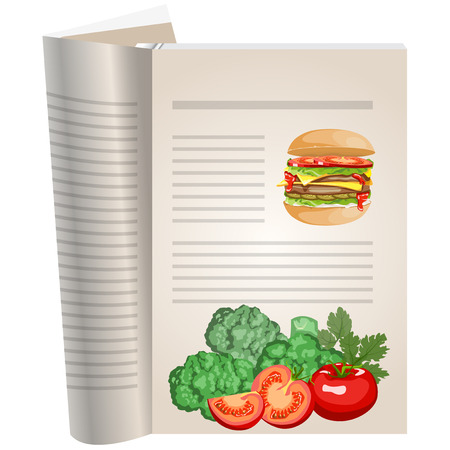 Template pages of a cookbook. You can have there favorite recipes. Hamburger and still life of vegetables. Broccoli. Tomato whole and sliced. Illustration