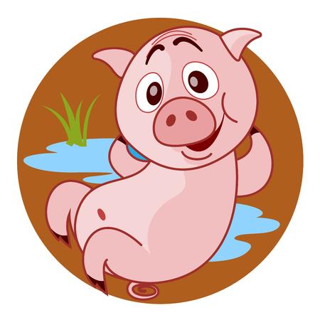 likeable: Cute illustration of a pig. Vector illustration for children.