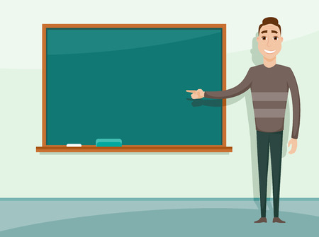 tutor: Smiling teacher standing in front of blackboard. Teacher teaching student in classroom at school, college or university. Illustration
