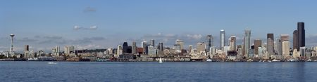 puget sound: Panorama of daytime Seattle Stock Photo