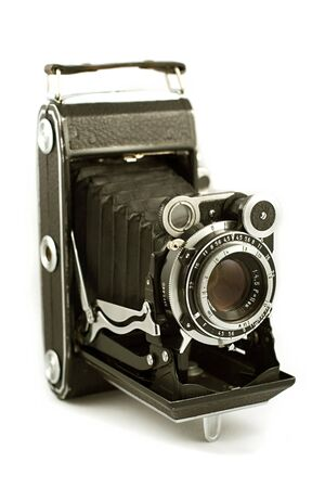 folding camera: Retro folding camera Stock Photo