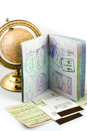 Passport with visa stamps photo