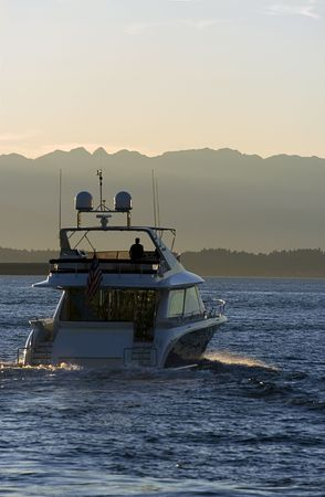 puget sound: Yacht at sunset Stock Photo