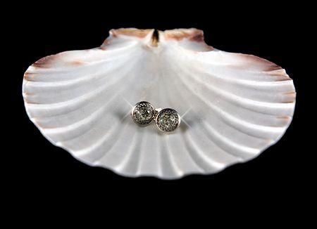 Diamonds on seashell photo