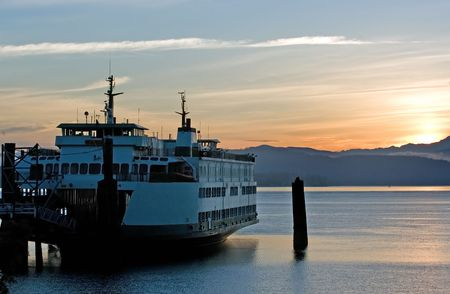 puget sound: Ferry in sunrise Stock Photo