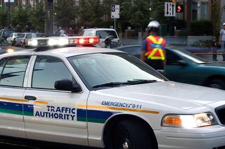 blocking: Police blocking street Stock Photo