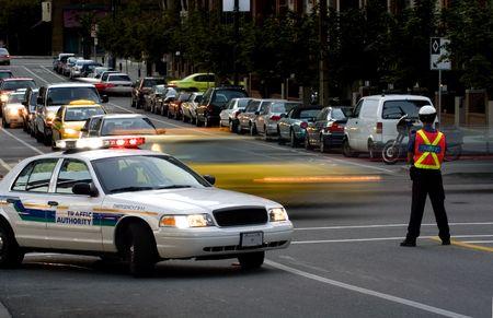 warden: Road bloque de la polic�a de tr�nsito  Foto de archivo