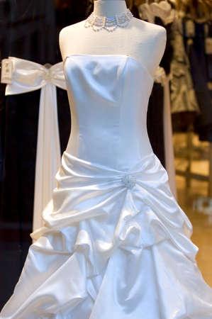 evening dress: Wedding dress on display Stock Photo
