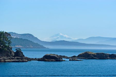 juan: San Juan islands with Mount Baker Stock Photo