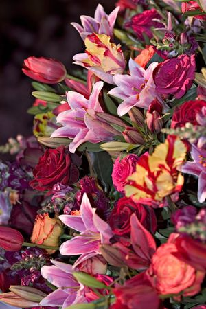 with sympathy: Flower arrangement Stock Photo