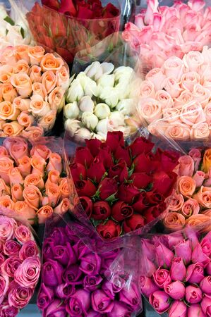 Pattern of rose bouquets at flower shop
