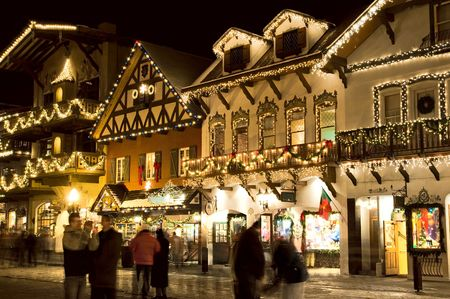 Holiday celebrations in alpine ski village Stock Photo - 293224