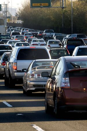 traffic officer: Traffic jam in Bay area, California Stock Photo