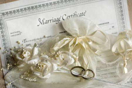 curare teneramente: Certificato di nozze  Archivio Fotografico
