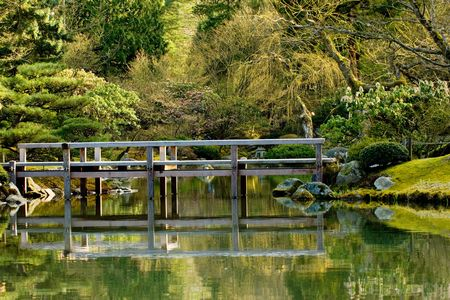 japanese bridge: Japanese bridge in traditional garden