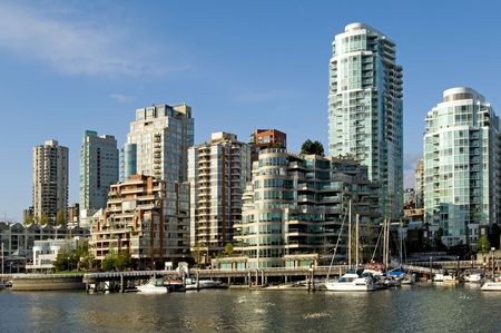 marina life: Vancouver panorama from Granville island Stock Photo